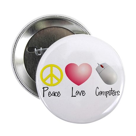 "Peace, Love, and Computers 2.25"" Button (100 pack)"