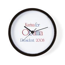 Karina for Obama 2008 Wall Clock