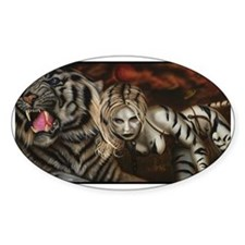 PRISON TIGER LADY Oval Decal