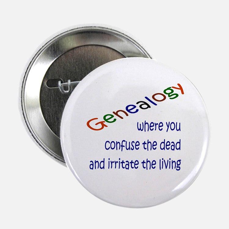 "Genealogy Confusion (blue) 2.25"" Button"