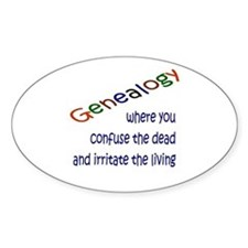 Genealogy Confusion (blue) Oval Bumper Stickers