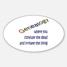 Genealogy Confusion (blue) Oval Decal