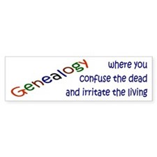 Genealogy Confusion (blue) Bumper Car Sticker