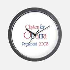 Clayton for Obama 2008 Wall Clock
