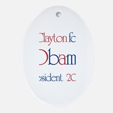Clayton for Obama 2008 Oval Ornament