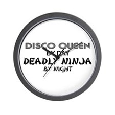 Disco Queen Deadly Ninja by Night Wall Clock