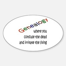 Genealogy Confusion (blk) Oval Decal
