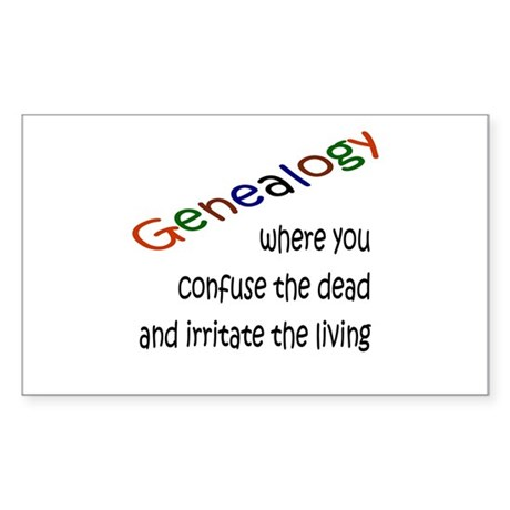 Genealogy Confusion (blk) Rectangle Sticker