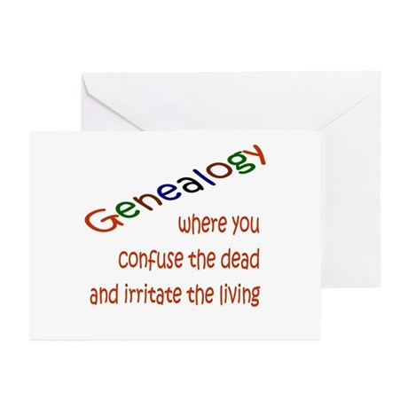 Genealogy Confusion (red) Greeting Cards (Pk of 10