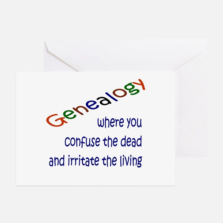 Genealogy Confusion (blue) Greeting Cards (Pk of 1
