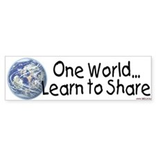 One World - Learn to Share Bumper Bumper Sticker