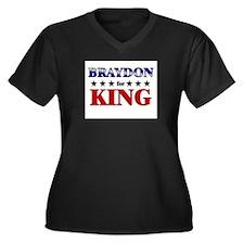 BRAYDON for king Women's Plus Size V-Neck Dark T-S