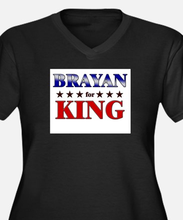 BRAYAN for king Women's Plus Size V-Neck Dark T-Sh