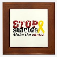 STOP suicide make choice Framed Tile