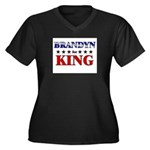 BRANDYN for king Women's Plus Size V-Neck Dark T-S