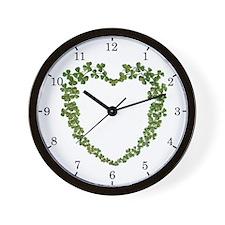 Shamrock Heart Wreath Wall Clock