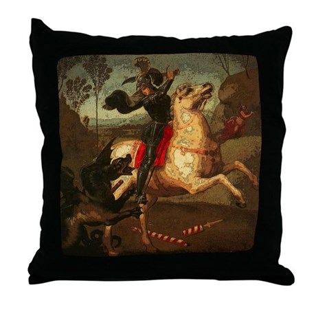 St. George Fighting Dragon Throw Pillow by aaanativearts