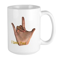 """I Love You"" Hand Large Mug"