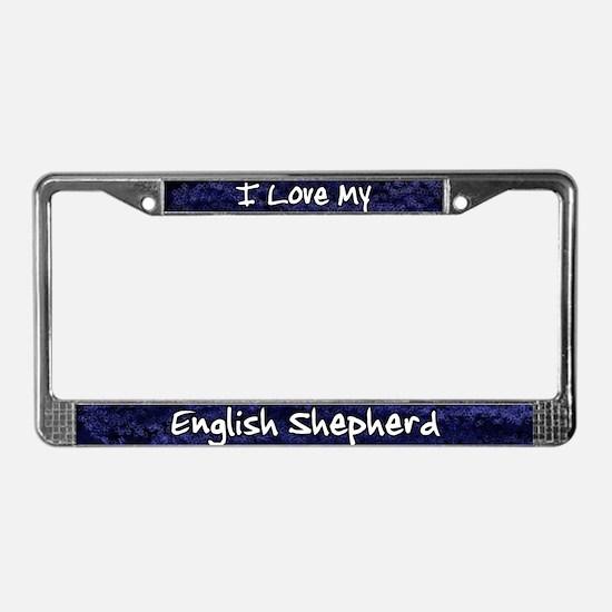 Funky Love English Shepherd License Plate Frame