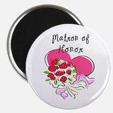 "Matron of Honor Heart Bouquet 2.25"" Magnet (10 pac"