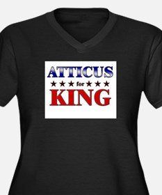 ATTICUS for king Women's Plus Size V-Neck Dark T-S