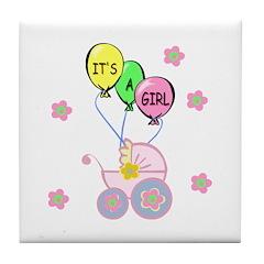 Its A Baby Girl Tile Coaster
