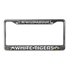Fur Pattern White Tiger License Plate Frame
