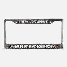 Fur Pattern White Tiger License Plate Frame