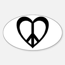 Peace Heart Oval Decal