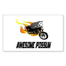 Flaming Awesome Possum Rectangle Decal
