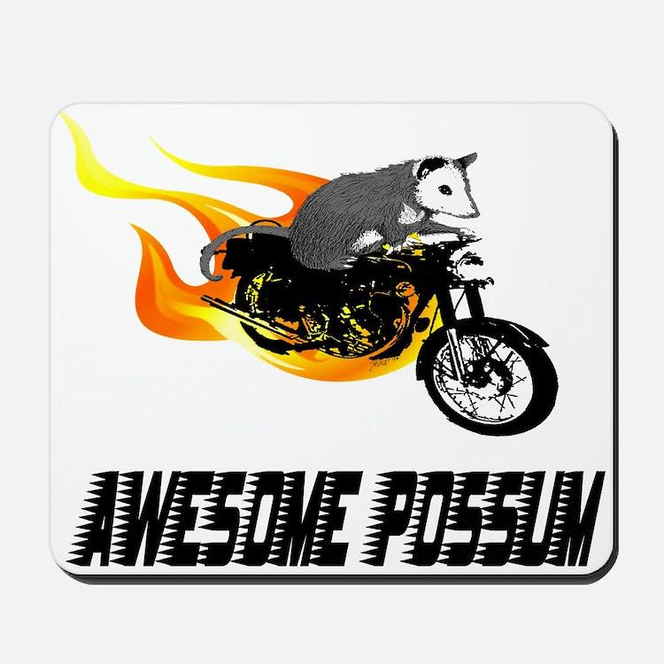 Flaming Awesome Possum Mousepad