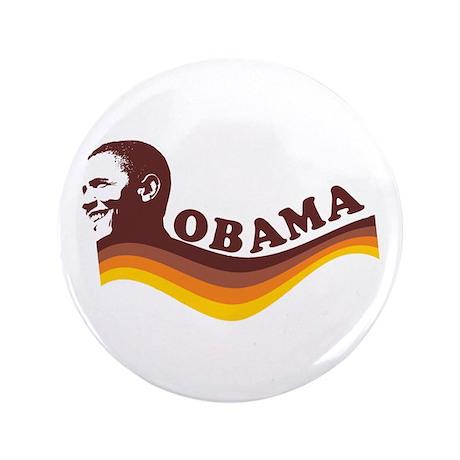 """Barack Obama (brown retro) 3.5"""" Button"""