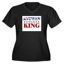 ANTWAN for king Women's Plus Size V-Neck Dark T-Sh