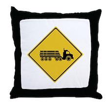Logging Truck Warning, Australia Throw Pillow