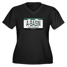 A-Basin Plate Women's Plus Size V-Neck Dark T-Shir