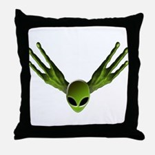 Alien Hands w/Head Green Throw Pillow