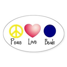 Peace, Love, Beads Oval Decal