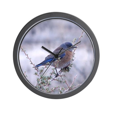 bluebird on a branch Wall Clock