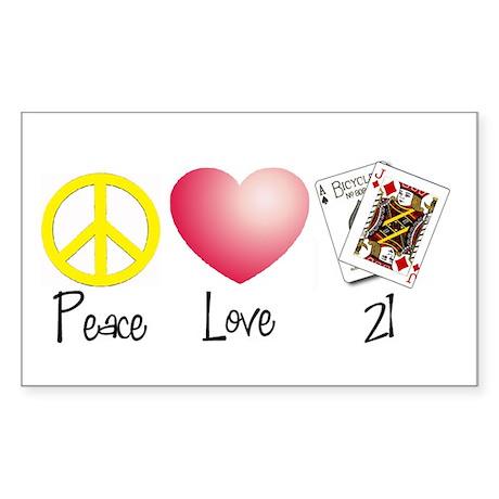 Peace, Love, 21 Rectangle Sticker