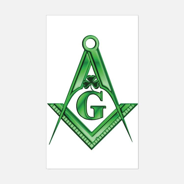 Masonic Shamrock Rectangle Decal