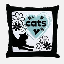 Modern Cat Lover Throw Pillow