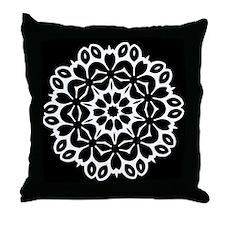 Black/white Single Doily Throw Pillow