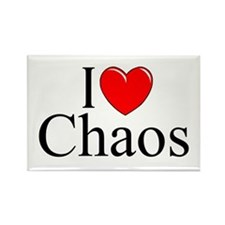 """""""I Love Chaos"""" Rectangle Magnet"""