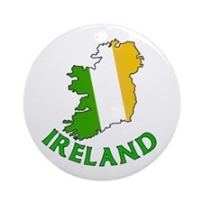 Map of Ireland in Green White and Orange Ornament