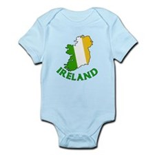 Map of Ireland in Green White and Orange Onesie