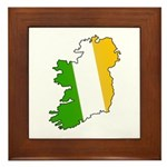 Tricolor Map of Ireland Framed Tile
