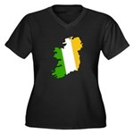 Tricolor Map of Ireland Women's Plus Size V-Neck D