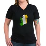 Tricolor Map of Ireland Women's V-Neck Dark T-Shir