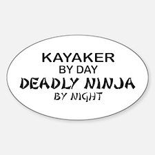 Kayaker Deadly Ninja Oval Decal