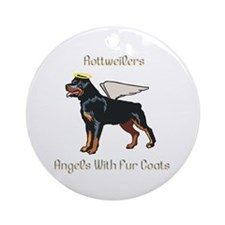 Rottweilers Angels With Fur Coats Ornament (Round)